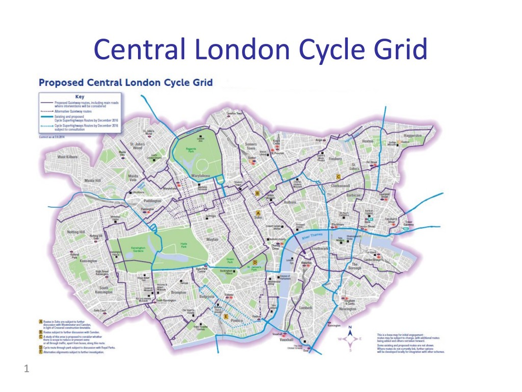 Central London Cycle Grid 2016 - Lambeth - with CSEW2+NS