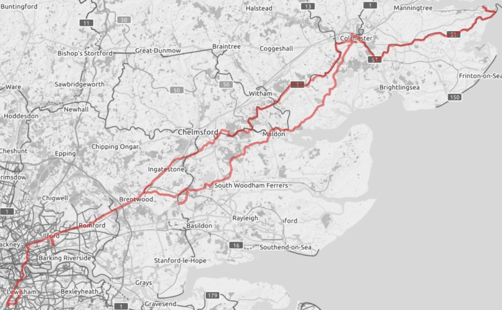tracks of my route from London to Harwich and back on the UK leg of my cycle tour